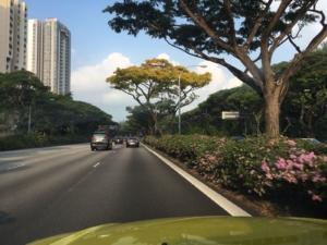 Drimas auf den Straßen Singapurs auf dem Weg zum Kunden.