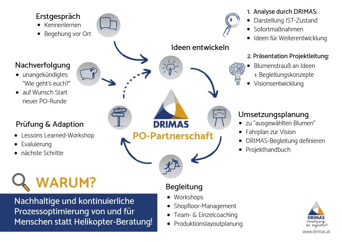 DRIMAS   Prozessoptimierung   Betriebsanlagen   Partnerschaft   5S   Workshops   Analyse   Projekthandbuch   Lean Management