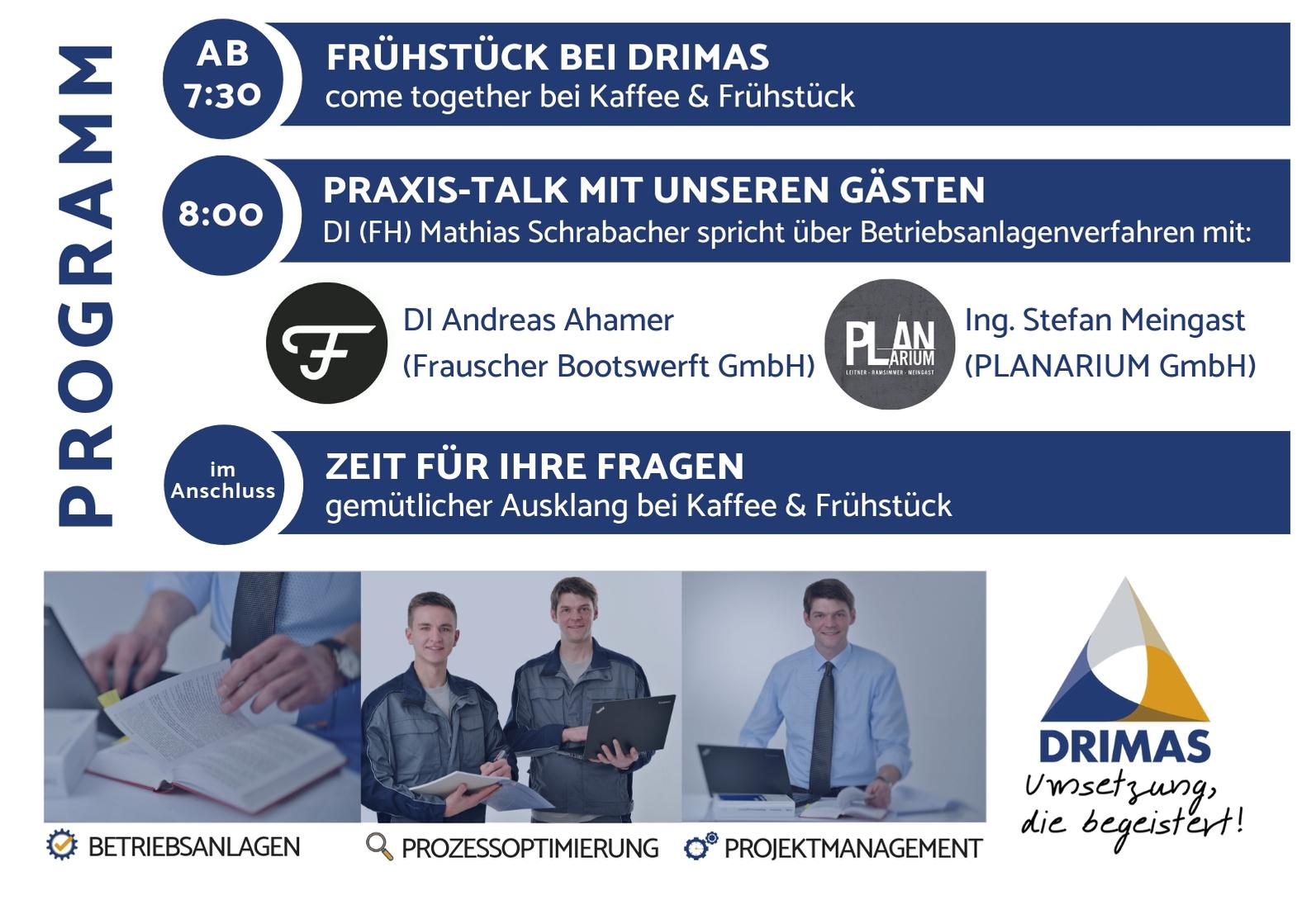 DRIMAS | Frühstück | Betriebsanlagen | Info | Betriebsanlagengenehmigungsverfahren